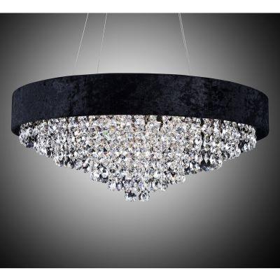 Lustre Bella Iluminação Trento Metal Tecido Preto Cristal K9 Translucido 25x60cm 7 G9 Halopin HU2101B Saguão Hall