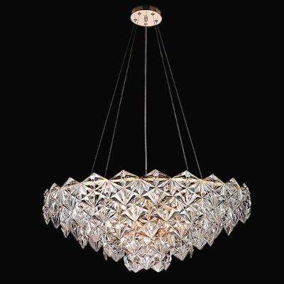 Lustre Bella Iluminação Zara Horizontal Metal Cobre Vidro Translucido 35x80cm 9 E14 110v 220v Bivolt BM002B Saguão Hall