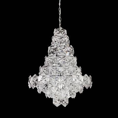 Lustre Bella Iluminação Zara Pêndulo Metal Cromo Vidro Translucido 76x60cm 12 E14 110v 220v Bivolt BM003C Saguão Hall