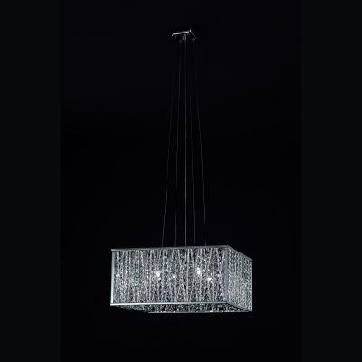 Pendente Bella Iluminação Adágio Quadrado Metal Cristal K9 41x41cm 5 G9 Halopin 110v 220v Bivolt HO020 Saguão Quartos
