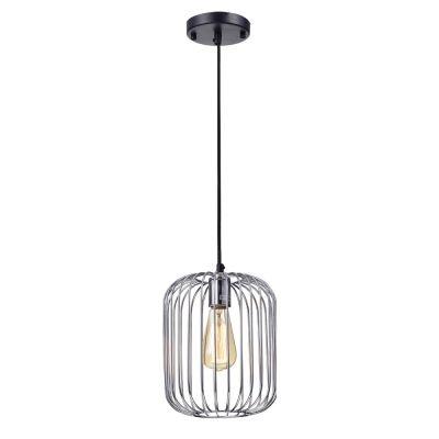 Pendente Bella Iluminação Aramado Fill Suspenso Metal Cromo 25,5x20cm 1 E27 40W PD013C Corredores Cozinhas