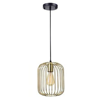 Pendente Bella Iluminação Aramado Fill Suspenso Metal Dourado 25,5x20cm 1 E27 40W PD013B Corredores Cozinhas
