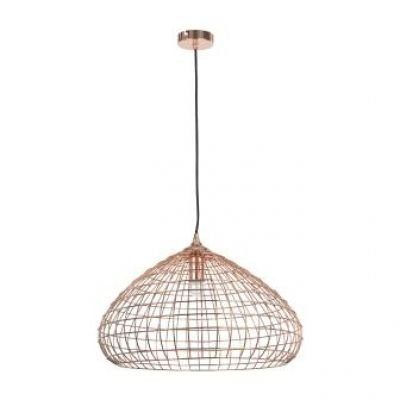 Pendente Bella Iluminação Arami Metal Cobre Redondo Aramado 28x50cm 1 E27 110v 220v Bivolt CI003 Sala Estar Cozinhas