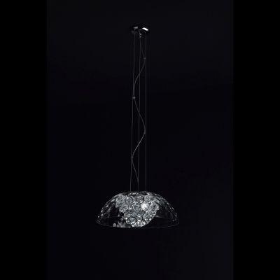 Pendente Bella Iluminação Bloom 1/2 Esfera Cristal K9 Metal Cromo Ø39cm 3 G9 Halopin 110v 220v Bivolt HO004C Saguão Sala Estar