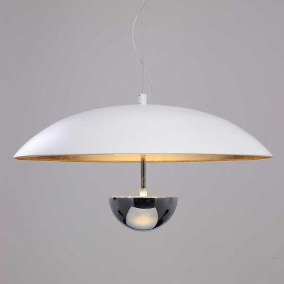 Pendente Bella Iluminação Brolly Prato Metal Branco Dourado Ø43cm 1 LED 12W 110v 220v Bivolt MN002 Saguão Corredores