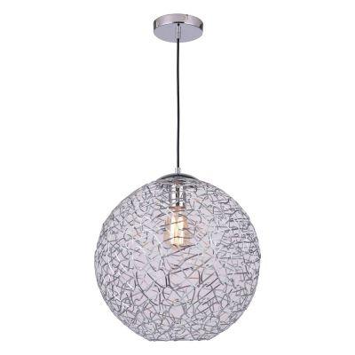 Pendente Bella Iluminação Capiz Aramado Esfera Metal Cromo Ø40cm 1x E27 40W 110v 220v Bivolt FO002L Sala Estar Saguão