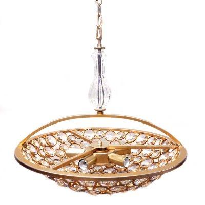 Pendente Bella Iluminação Champ Metal Ouro Velho Vidro Cristal K9 42x53cm 5 E14 40W 110v 220v Bivolt MR001S Sala Estar Mesa Jantar
