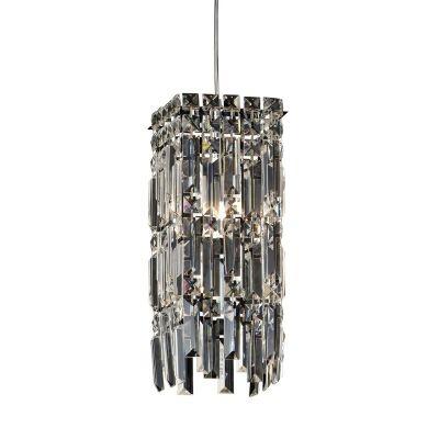 Pendente Bella Iluminação Charm Metal Cromo Cristal K9 37x15cm 1 G9 Halopin 110v 220v Bivolt HU2155 Saguão Corredores