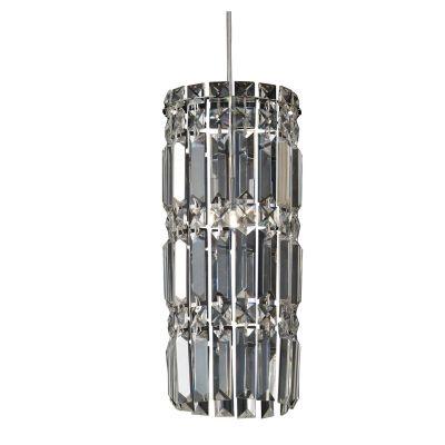 Pendente Bella Iluminação Charm Tubo Cristal K9 Lapidado 37x15cm 1 G9 Halopin 110v 220v Bivolt HU2156 Saguão Corredores