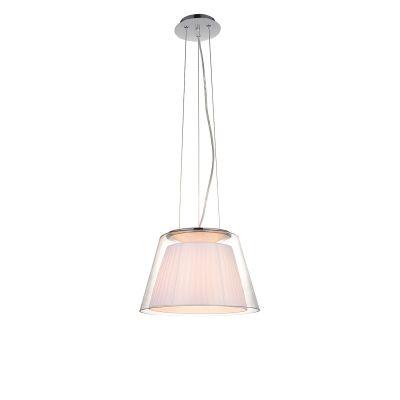 Pendente Bella Iluminação Conico Trace Vidro Tecido Branco Metal 29x44cm 1 E27 110v 220v Bivolt SU003W Sala Estar Quartos
