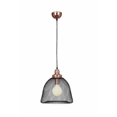 Pendente Bella Iluminação Copper Aramado Grade Metal Cobre Preto 33,5x32cm 1 E27 110v 220v Bivolt XN001 Sala Estar Saguão