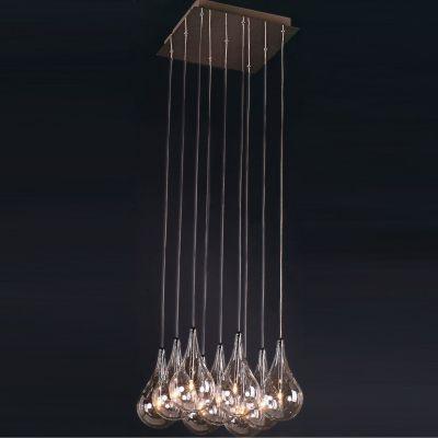 Pendente Bella Iluminação Drop Metal Cromo Lampada Vidro Tranparente Ø37cm 9 G4 Bi-pino 110V HO1370A Sala Estar Hall