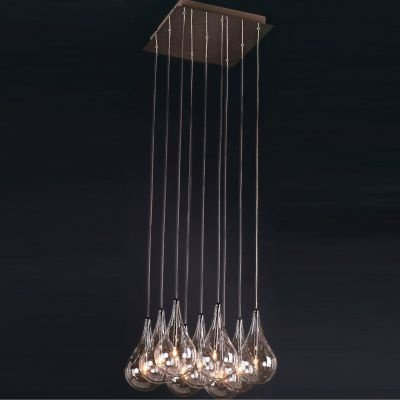 Pendente Bella Iluminação Drop Metal Cromo Lampada Vidro Tranparente Ø37cm 9 G4 Bi-pino 220V HO1370B Sala Estar Hall