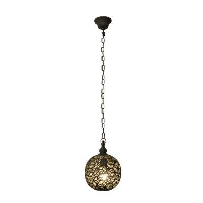 Pendente Bella Iluminação Esfera Diya Suspenso Metal Cinza 28x20cm 1 E27 110v 220v Bivolt PEI0021PCI Sala Estar Saguão