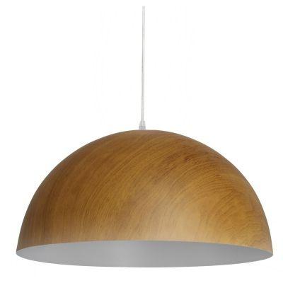 Pendente Bella Iluminação Foliate Redondo Metal Cor Madeira 20x40cm 1 E27 110v 220v Bivolt AD005 Mesa Jantar  Sala Estar
