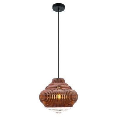 Pendente Bella Iluminação Fuzy Metal Vidro Translucido Cobre 25x27,5cm 1 E27 40W 110v 220v Bivolt OP055A Balcões Cozinhas