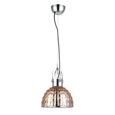 Pendente Bella Iluminação Fuzzy Metal Cromo Vidro Cobre 14,5x22,5cm 1 E27 110v 220v Bivolt OP047B Saguão Corredores