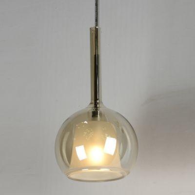 Pendente Bella Iluminação Glassy Metal Cromo Vidro Âmbar 20x11cm 1 G9 Halopin 110v 220v Bivolt WA007 Sala Estar Cozinhas