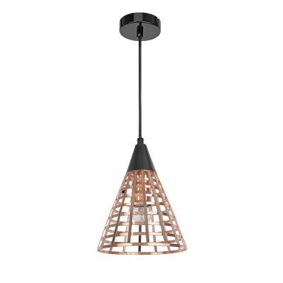 Pendente Bella Iluminação Grou Cônico Aramado Metal Cobre Preto 24x19cm 1E27 110v 220v Bivolt CI006B Sala Estar Cozinhas