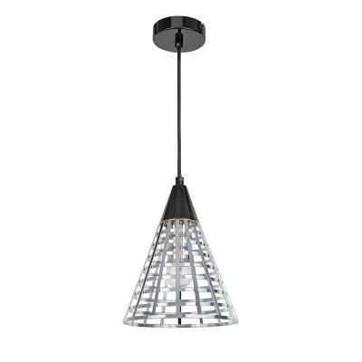 Pendente Bella Iluminação Grou Cônico Aramado Metal Cromo Preto 24x19cm 1E27 110v 220v Bivolt CI006C Sala Estar Cozinhas