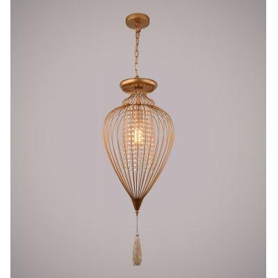 Pendente Bella Iluminação Indian Aramado Cristal K9 Metal Dourado 43x23cm 1 E27 110v 220v Bivolt GX008SC Saguão Sala Estar