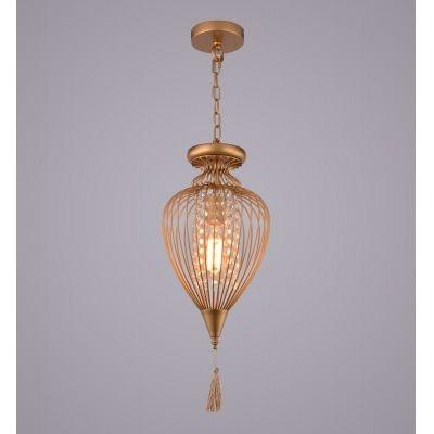 Pendente Bella Iluminação Indian Aramado Cristal K9 Metal Dourado 64x34cm 1 E27 110v 220v Bivolt GX008C Saguão Sala Estar