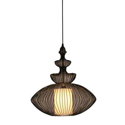 Pendente Bella Iluminação Indian Metal Cupula Tecido Preto Contemporâneo 49x45cm 1x E27 110v 220v Bivolt GX005 Saguão Sala Estar