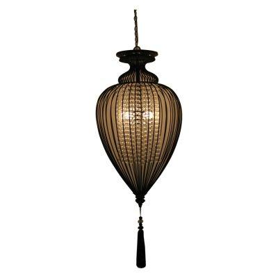 Pendente Bella Iluminação Indian Metal Fibra Tecido Preto Translucido 64x34cm 1x E27 110v 220v Bivolt GX008 Saguão Sala Estar
