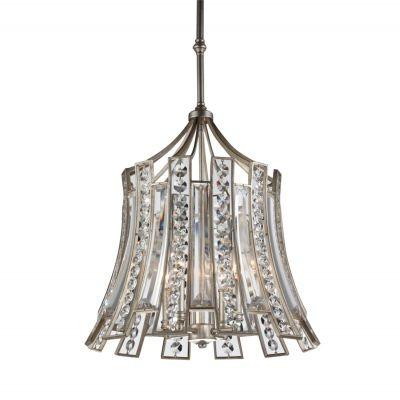 Pendente Bella Iluminação Jazz Cristal K9 Metal Envelhecido 56x53cm 4 E14 110v 220v Bivolt AS010 Saguão Sala Estar