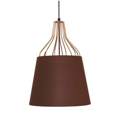 Pendente Bella Iluminação Lan Sino Tecido Marrom Metal Cobre 70x50cm 1 E27 110v 220v Bivolt XN006 Cozinhas Balcões