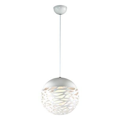 Pendente Bella Iluminação Lynx Esfera Metal Branco Aramado 30x30cm 1 E27 40W 110v 220v Bivolt KD001S Balcões Saguão