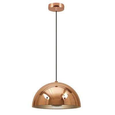 Pendente Bella Iluminação Mezza Redondo Metal Cobre Cromo Ø50cm 1 E27 110v 220v Bivolt SE500A Corredores Cozinhas