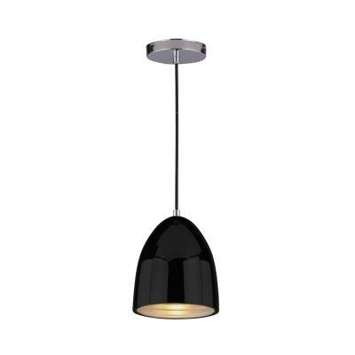 Pendente Bella Iluminação Mezza Suspenso Oval Aço Metal Preto Ø16cm 1 E27 110v 220v Bivolt SE616P Saguão Cozinhas