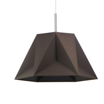 Pendente Bella Iluminação Poli Suspenso Tecido Metal Marrom 47x40,5cm 1 E27 110v 220v Bivolt CC005B Cozinhas Quartos
