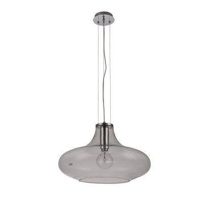 Pendente Bella Iluminação Pote Metal Cromo Vidro Translucido 30x50cm 1 E27 110v 220v Bivolt OD028C Balcões Saguão