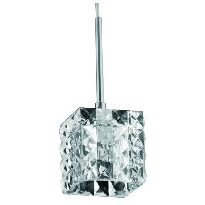 Pendente Bella Iluminação Prisma Cubico Metal Vidro Translucido 10x9cm 1 G9 Halopin 110v 220v Bivolt HU2149P Sala Estar Quartos