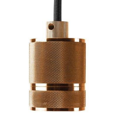 Pendente Bella Iluminação Socket Tubo Suspenso Metal Bronze 6x4,8cm 1 E-27 110v 220v Bivolt DA002A Sala Estar Quartos