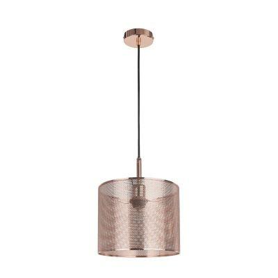 Pendente Bella Iluminação Telinha Redondo Suspenso Metal Cobre 25x20cm 1 E27 110v 220v Bivolt CI001 Saguão Cozinhas