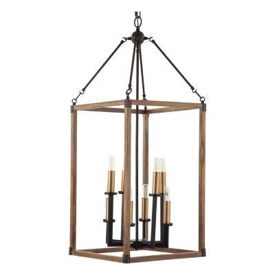 Pendente Bella Iluminação Torch Retangular Suspenso Metal Bronze 102x40cm 8 E14 40W 110v 220v Bivolt KF002 Saguão Hall
