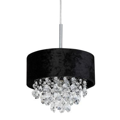 Pendente Bella Iluminação Trento Metal Tecido Preto Cristal K9 Translucido 15x20cm 1 G9 Halopin HU2103B Sala Estar Hall
