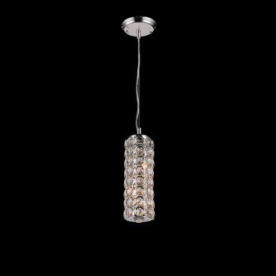 Pendente Bella Iluminação Tubo Lily Cristal K9 Metal Cromo 30,5x10cm 2 G9 Halopin 110v 220v Bivolt SS020 Sala Estar Quartos