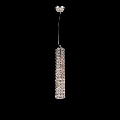 Pendente Bella Iluminação Tubo Lily Cristal K9 Metal Cromo 58x10cm 4 G9 Halopin 110v 220v Bivolt SS021 Sala Estar Quartos