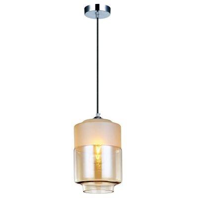 Pendente Bella Iluminação Tubo Shade Metal Cromo Vidro Âmbar 25,5x18cm 1 E27 110v 220v Bivolt OP043A Sala Estar Saguão