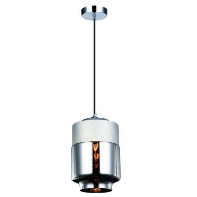 Pendente Bella Iluminação Tubo Shade Metal Cromo Vidro Espelhado 25,5x18cm 1 E27 110v 220v Bivolt OP043C Sala Estar Quartos