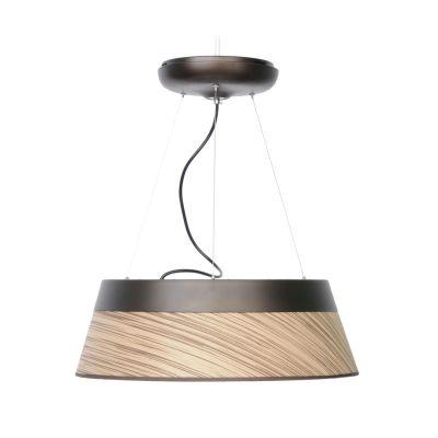 Pendente Bella Iluminação Twiggy Redondo Aço Laminado Madeira 18x55cm 1 LED 43W 110v 220v Bivolt WD010M Sala Estar Quartos