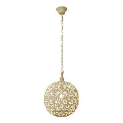 Pendente Bella Iluminação Suspenso Gaya Esfera Metal Branco 46x32cm 1 E27 110v 220v Bivolt PEI0017MBR Saguão Hall