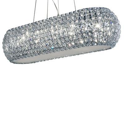 Pendente Bella Iluminação Vienna Cromo Aço Cristal K9 Vidro Fosco 19x84cm 10 G9 Halopin HO2084 Saguão Hall