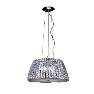 Pendente Bella Iluminação Vienna Metal Cromo Cristal K9 Redondo 24x51cm 6 G9 Halopin 110v 220v Bivolt HO173P Quartos Sala Estar