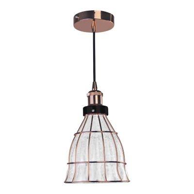 Pendente Bella Iluminação Vitti Cônico Metal Rose Vidro Translucido 19x17cm 1 E-27 40W DA006 Sala Estar Corredores