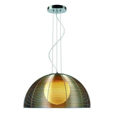 Pendente Bella Iluminação Wire 1/2 Esfera Vidro Metal Cupula Café Ø50cm 1x E27 110v 220v Bivolt GA006C Sala Estar Saguão